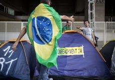 Protesta anticorrupción en Sao Paulo, el Brasil Fotos de archivo