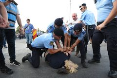 Protesta antigovernativa a Bucarest immagine stock