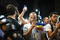 Protesta antigovernativa a Bucarest - 12 agosto 2018 Fotografia Stock