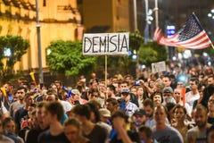 Protesta antigovernativa a Bucarest - 12 agosto 2018 Fotografie Stock Libere da Diritti