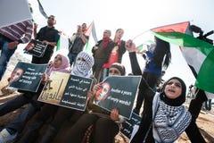 Protesta Barack Obama de los palestinos Foto de archivo libre de regalías