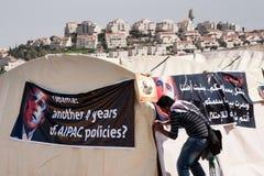 Protesta Barack Obama de los palestinos Fotografía de archivo libre de regalías