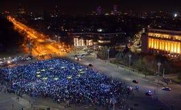 Protesta a Bucarest Fotografie Stock