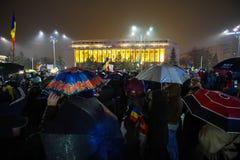 Protesta a Bucarest, Romania Fotografie Stock