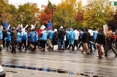 Protesta Bucarest Rumania Imagen de archivo