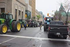 Protesta canadese degli agricoltori di latteria Fotografie Stock