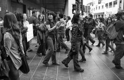 Protesta contra cortes de la austeridad Imágenes de archivo libres de regalías