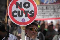 Protesta contra cortes en el gasto público Foto de archivo libre de regalías
