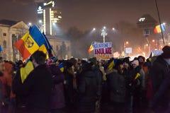 Protesta contra el gobierno en Bucarest, Rumania Fotografía de archivo