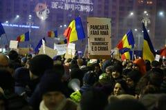 Protesta contra la corrupción y el gobierno rumano Fotografía de archivo libre de regalías