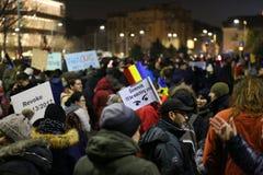 Protesta contra la corrupción y el gobierno rumano Imagen de archivo