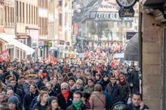 Protesta contra reformas del trabajo en Francia Imagen de archivo