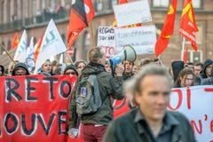 Protesta contra reformas del trabajo en Francia Fotografía de archivo libre de regalías