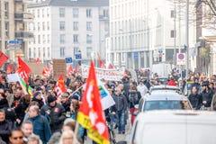 Protesta contra reformas del trabajo en Francia Foto de archivo libre de regalías