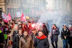 Protesta contra reformas del trabajo en Francia Imagen de archivo libre de regalías