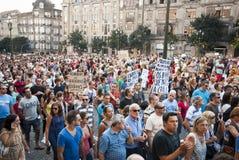 Protesta contro i tagli di governo, Oporto Immagini Stock Libere da Diritti