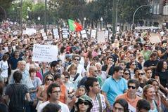 Protesta contro i tagli di governo, Oporto Fotografie Stock Libere da Diritti