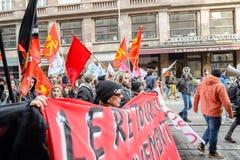 Protesta contro le riforme del lavoro in Francia Fotografie Stock