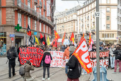 Protesta contro le riforme del lavoro in Francia Fotografia Stock