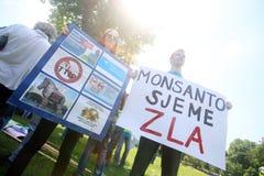 Protesta contro Monsanto, Zagabria, Croazia Fotografia Stock Libera da Diritti