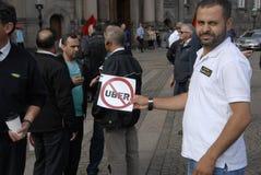 PROTESTA CONTRO UBER Fotografia Stock Libera da Diritti