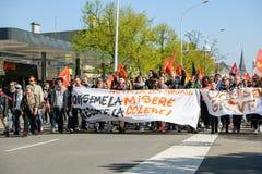Protesta de abril contra reformas del trabajo en Francia Imagen de archivo libre de regalías