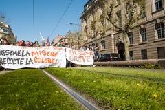 Protesta de abril contra reformas del trabajo en Francia Fotografía de archivo libre de regalías