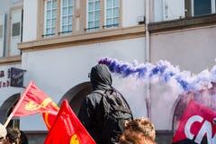 Protesta de abril contra reformas del trabajo en Francia Imagen de archivo