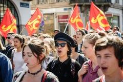 Protesta de abril contra reformas del trabajo en Francia Fotos de archivo libres de regalías