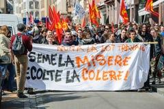 Protesta de abril contra reformas del trabajo en Francia Imágenes de archivo libres de regalías