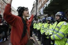 Protesta de ANTI-CUTS EN LONDRES Imagen de archivo libre de regalías