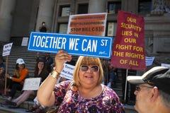 Protesta de Bill C-51 (acto del Anti-terrorismo) en Vancouver Imagen de archivo