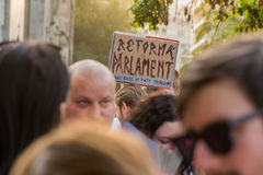 Protesta de Bucarest Imagen de archivo
