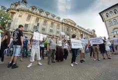 Protesta de Bucarest Foto de archivo libre de regalías