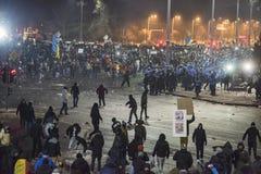 Protesta de Bucarest contra el gobierno Fotografía de archivo libre de regalías