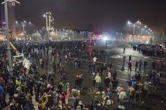 Protesta de Bucarest contra el gobierno Fotografía de archivo