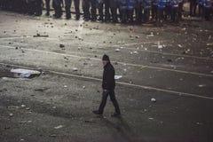 Protesta de Bucarest contra el gobierno Fotos de archivo libres de regalías