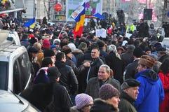Protesta de Bucarest - cuadrado 1 de la universidad Imagen de archivo libre de regalías