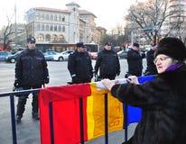 Protesta de Bucarest - cuadrado 11 de la universidad Foto de archivo libre de regalías