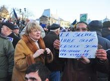 Protesta de Bucarest - cuadrado 4 de la universidad Imagen de archivo libre de regalías