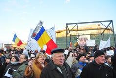 Protesta de Bucarest - cuadrado 5 de la universidad Foto de archivo libre de regalías