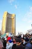 Protesta de Bucarest - cuadrado 9 de la universidad Imagenes de archivo