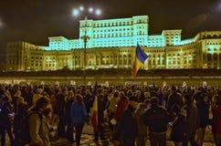 Protesta de Bucarest, modificando las leyes de la justicia imagen de archivo libre de regalías