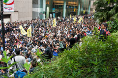 Protesta de Hong-Kong contra plan del presupuesto el 6 de marzo Fotos de archivo libres de regalías