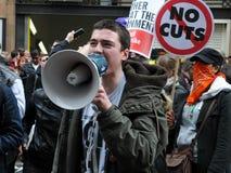 Protesta de la austeridad en Londres Foto de archivo libre de regalías