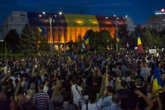 Protesta de la diáspora en Bucarest contra el gobierno Foto de archivo libre de regalías