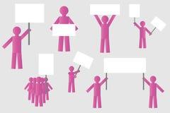 Protesta de la huelga de la gente con los carteles silueta de la gente rosada aislada simple con los carteles libre illustration
