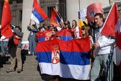 Protesta de la independencia de Kosovo Imagen de archivo libre de regalías