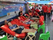 Protesta de la Rojo-Camisa en Bangkok Foto de archivo