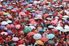 Protesta de la Rojo-Camisa en Bangkok Foto de archivo libre de regalías